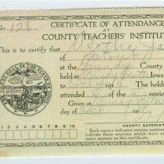 1975.4.135 (Certificate, attendance) image