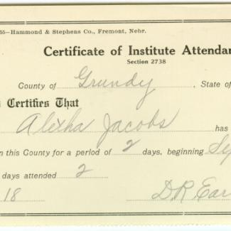 1975.4.137 (Certificate, attendance) image